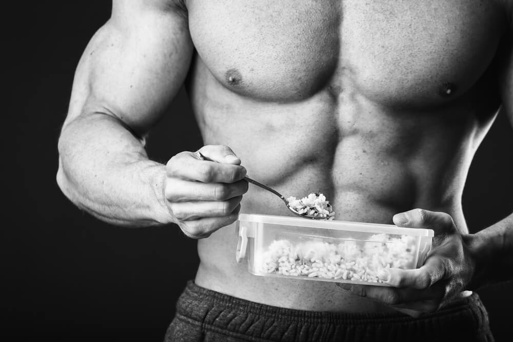 image of bodybuilder eating